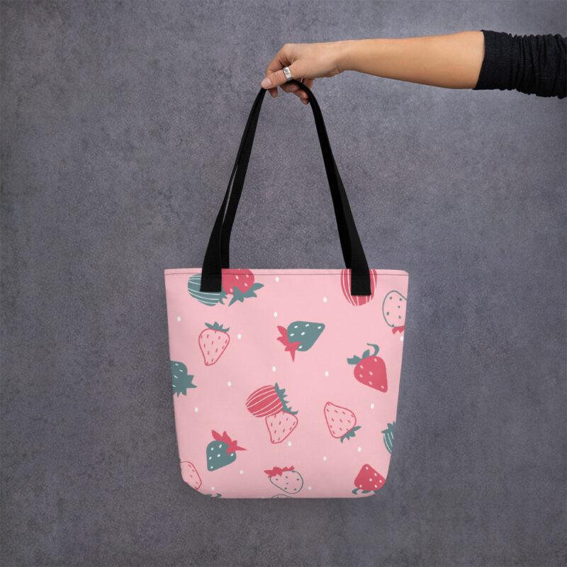 Shopper rosa motivo Fragole