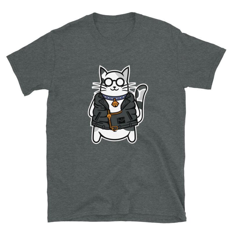 Maglietta color grigio con stampa di un Gatto con collare e chiodo