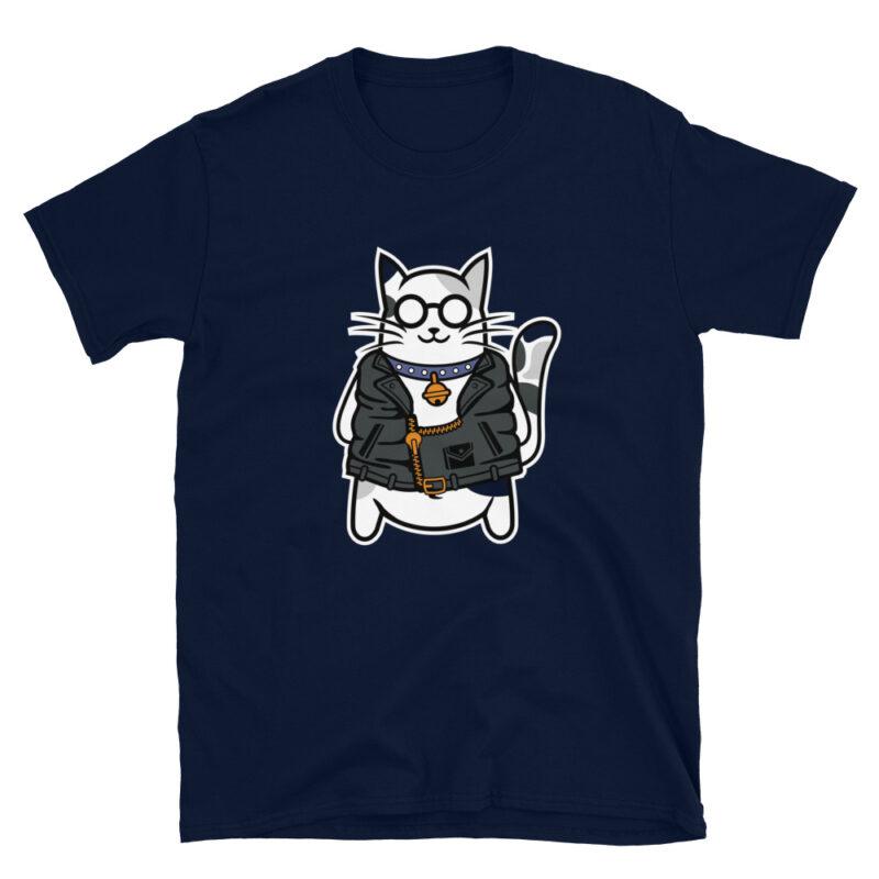 Maglietta color Blu Navy con stampa di un Gatto con collare e chiodo