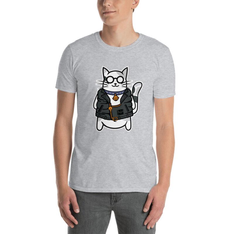 Maglietta uomo divertente con stampa di un Gatto con collare e chiodo