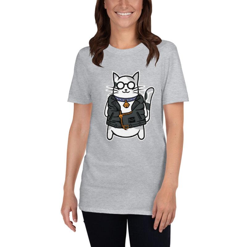 Maglietta donna grigio con stampa di un Gatto con collare e chiodo