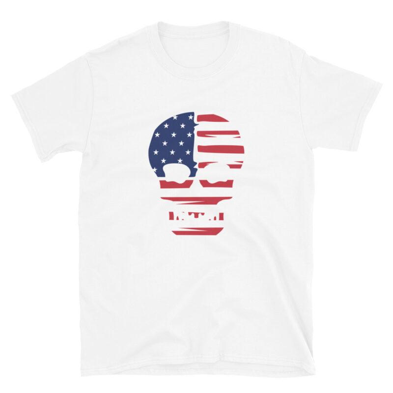 Maglietta bianca teschio con bandiera americana