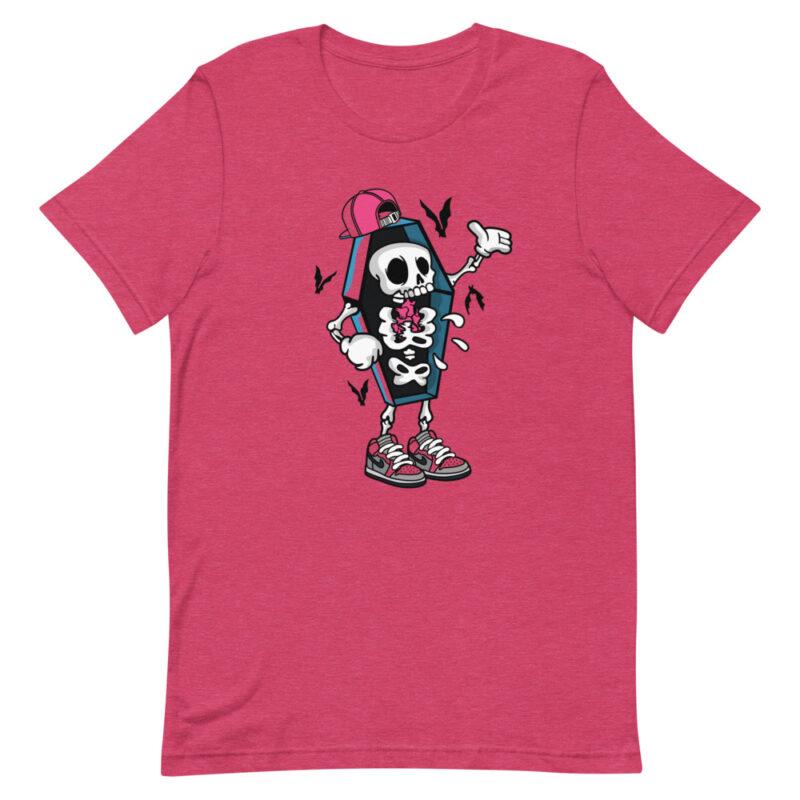 maglietta divertente rosa con scheletro e pipistrelli