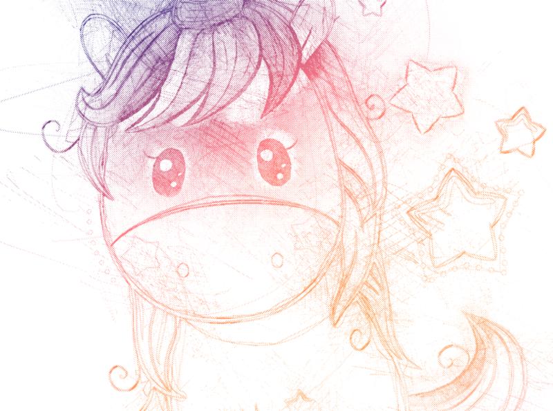Dettaglio unicorno disegnato a matita