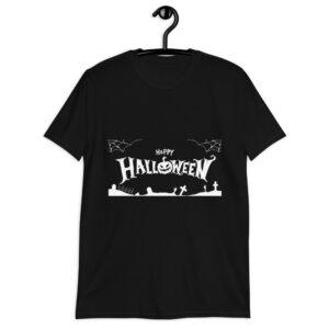 Maglietta Halloween con cimitero e zucca sorridente