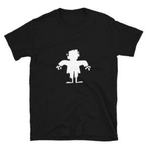 Maglietta Frankenstein stampa bianca su t-shirt nera